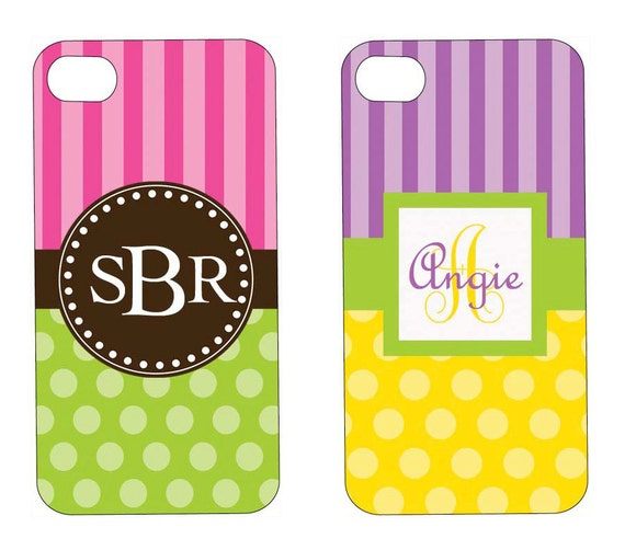Personalized Monogram iPhone Case - Stripes n Dots - Create Your Own - Custom iPhone Case