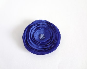 Cobalt Blue Silk Poppy Embellishment