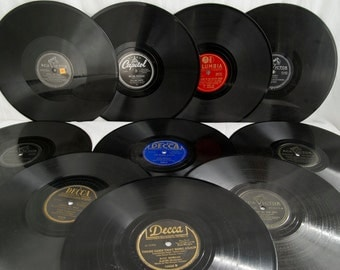 Vintage 78 RPM LPS Records, Vintage Vinyl, Rare 78s, Riders in the Sky, Hey Mr Postman, Mid Century Albums