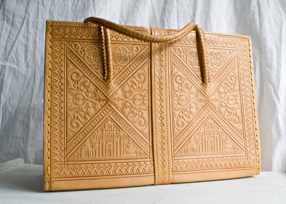 Vintage Moroccan Leather Bag, Hand Tooled Handbag - 1960s