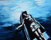 Fine Art Print - Drifting, water painting, Canoe painting, woman, relaxing