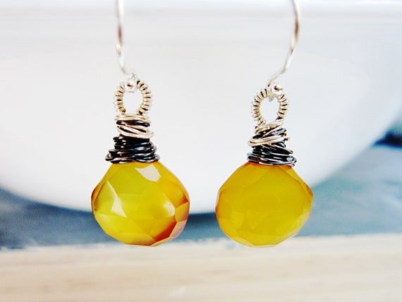 Yellow Stone Earrings Yellow Chalcedony wire wrap Sterling Silver