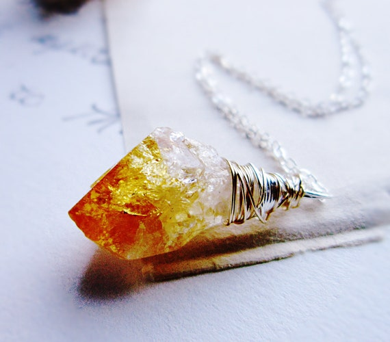 Raw Citrine Necklace - Organic Jewelry, Citrine dagger, mixed metal