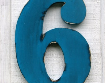 """Rustic Wooden Numbers 6 Distressed Painted Island Blue,12"""" tall Wood Numbers,Birthday Party Gift You Pick Number and Color"""