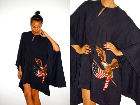 RESERVED alexmccargo: Vtg American Flag Eagle Knitted Oversize Navy Poncho