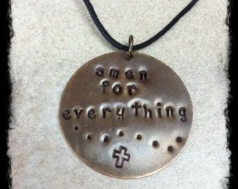 Men's or Unisex Black Cotton Cord Necklace with Hand Stamped Christian Inspirational Brass Tag