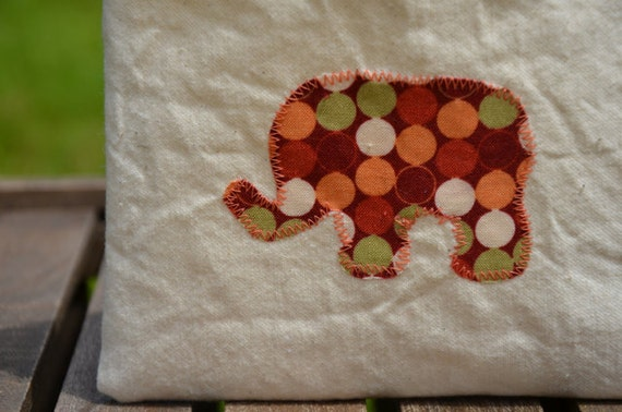 Reusable Snack Bag, Elephant Snack Bags, Eco Snack Bag, Elephant Cotton Lined, Back To School
