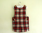 Vintage Boys Overalls, Red Plaid Overalls, Size 4T