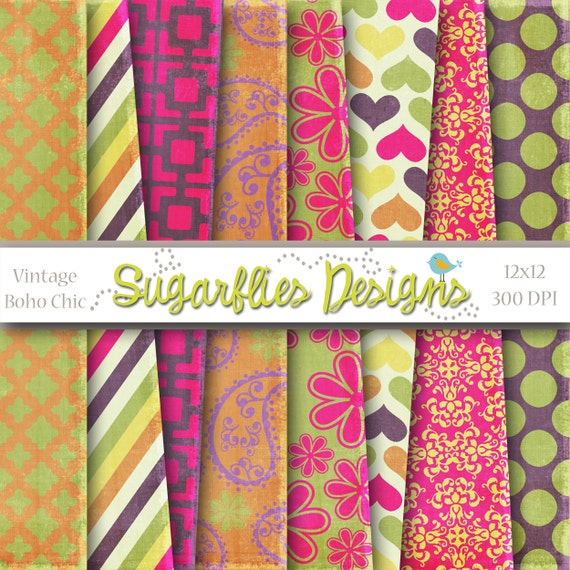 Digital Scrapbook Paper Packs --  Vintage Boho Chic