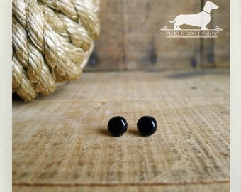 CLEARANCE! Black Bit. Post Earrings -- (Black, Super Small, Simple, Classic, Round, Small Black Studs, Cute, Vintage-Style, Gift Under 5)