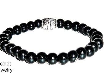 """Men's Bracelet  Mid-Night Black Jasper """"Strong Zen"""""""