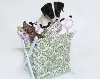 SALE - Green & White Damask Pet Toy Hamper with frame