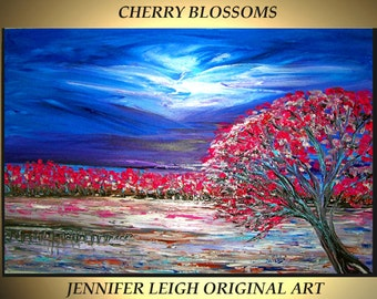 Original Large Abstract Painting Modern Contemporary Canvas Art Blue Pink Purple Cherry Blossom Tree 36x24 Palette Knife Texture Oil J.LEIGH