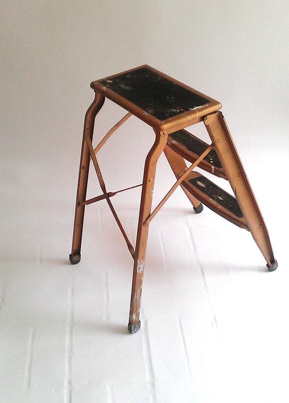 Vintage Step Ladder Stool Industrial Bronze Metal By