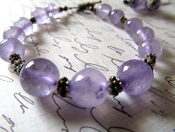 RESERVED for Bonnie--Amethyst Bracelet--Antique Brass and Silver for Vintage, Nouveau Look, Scroll Closure
