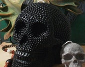 Big BLACK Beaded Pearl Beeswax Skull Candle 2012