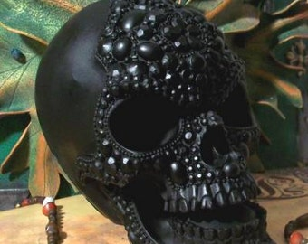 Big BLACK Beaded Pearl Beeswax Skull Candle