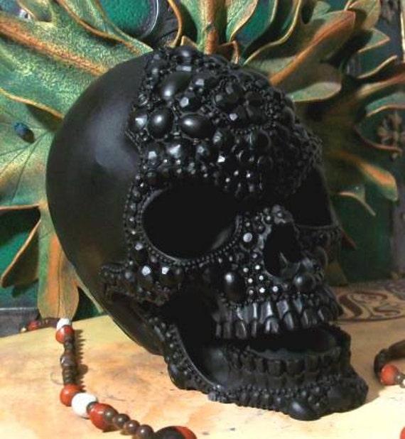 Big BLACK Beaded Pearl Beeswax Skull Candle