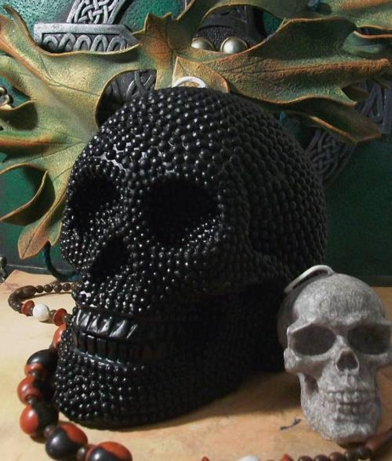 Big BLACK Beaded Pearl Beeswax Skull Candle 2012