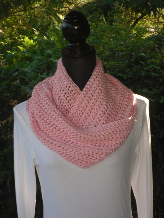 Infinity Eternity Cowl Neck Warmer Circle Scarf Soft Pink