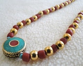 ethnic necklace, handmade, Turquoise, coral and gold beads, gold, ethnographic - Pachamama