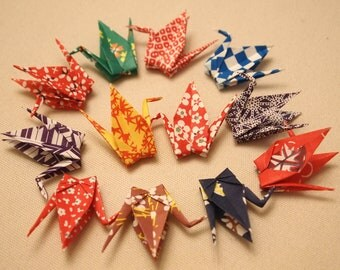 12 Origami Paper Cranes folded from Washi Chiyogami papers