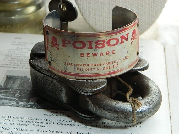 Halloween cuff bracelet faux vintage POISON label mixed media jewelry costume accessory LE Holidays 2012