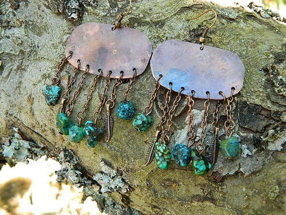 Copper shield earrings with turquoise feathers mixed media Native American jewelry Sarah Wood