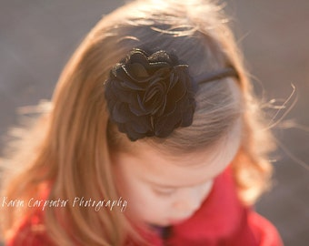 READY TO SHIP Black Headband, Black Headband, Adult Headband, Girls Headband, Women's Headband, Flower Headband