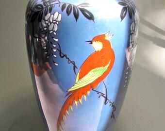 Ceramic vase in blue - handpainted - songbird decoration