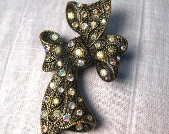 Vintage Aurora Rhinestone Brooch Bow Pin