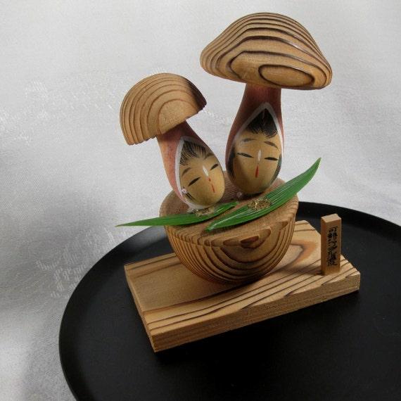 Vintage Kokeshi Japanese Mushroom Girls V201262