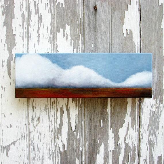 Cloud Landscape original oil painting gift wall art storm abstract neutral rustic colors home decor - Latitude series twelve