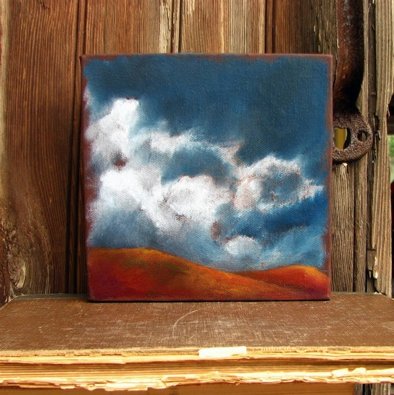 Original oil painting  rust red hills landscape thunderstorm clouds - Stormscape series eighteen