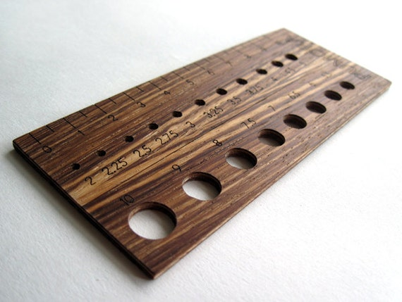 custom knitting ruler, wooden knitting needle gauge in zebrano, metric ...
