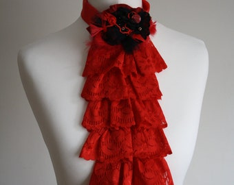 Red lace jabot with Swarovski crystals FREE UK SHIPPING