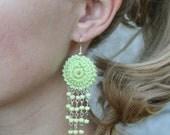 Crochet Hoop Earrings with beads