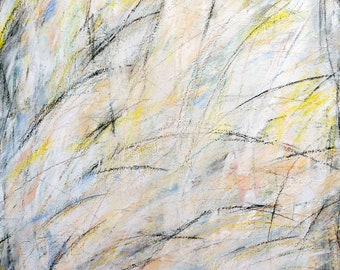 7-13-12, one, (abstract painting, black, pastel, white, gray, cream, silver, yellow)