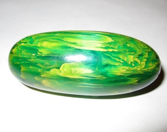 Huge Green Marbled Bakelite Bead