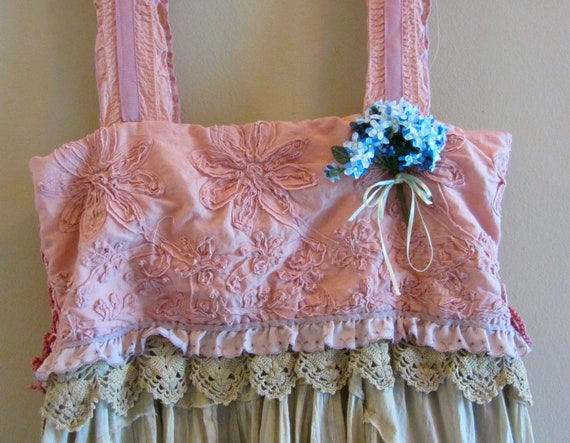 French Sugar Dress Shabby Sweet And Chic Ruffled Ruffle Tattered  Boho Roses Muted Mauve Taupe Plum Colors