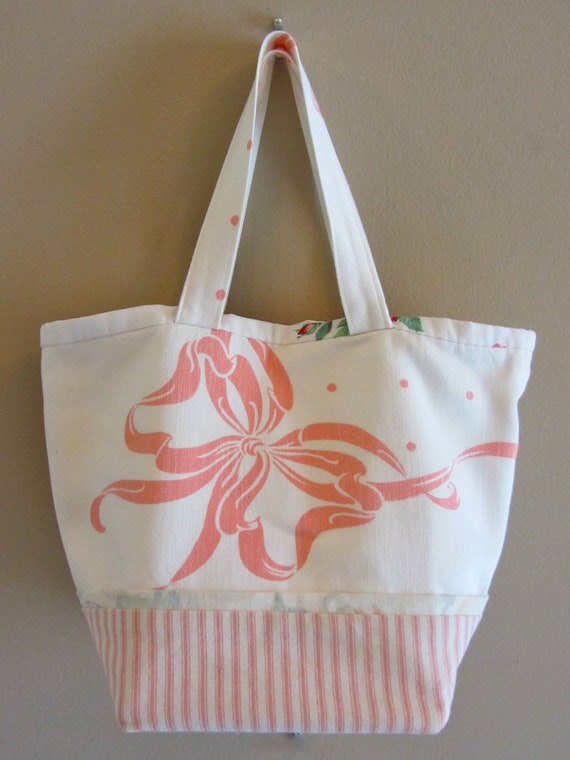 Retro Tablecloths Mini Market Bag Pink Bow   Wood Bottom Lined Shabby Chic Unique