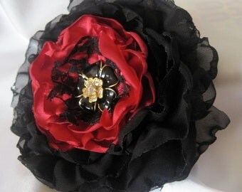 Sale..Black and Red Bridal Flower Hair Clip Brooch Bridesmaid Mother of the Bride with a Black and Rhinestone Flower Accent Hair Accessories