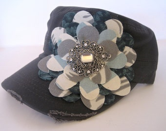 Grey Cadet Military Distressed Petal Hat with Grey Ivory and Turquoise Petal Flower and a Silver Rhinestone Accent