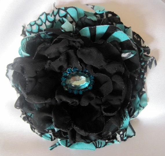 Flower Pin Hair Clip Brooch in Turquoise and black with Beautiful Turquoise Rhinestone Accent