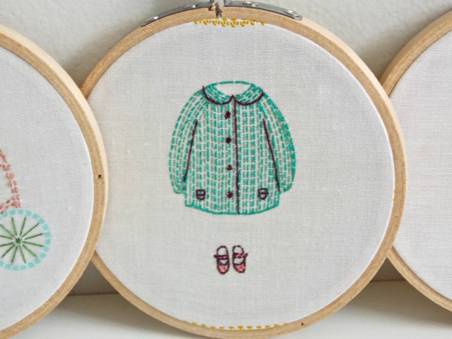 Wall art embroidery hoop decor by