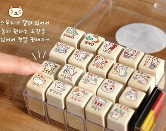 20 Kinds Korea DIY Woodiness Rubber Stamp-Cat Stamp