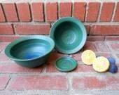 Set of 2 Green to Blue Matte Bowls with bonus Coaster