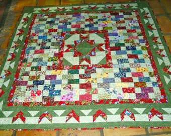 60 x 60 Inch Hand made Floral Star Medallion Lap Quilt or Wall Hanging