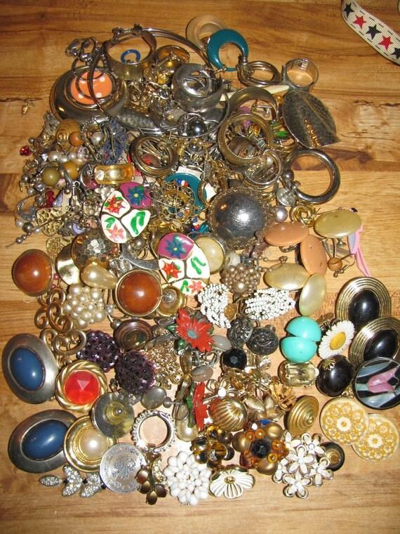Vintage Huge Lot Of  Mismatched Earrings for Parts Crafts Destashed