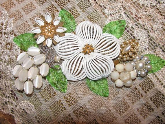 Destash Enamel-Plastic Rhinestone Craft Lot of Vintage Jewelry, Brooches Earrings & More